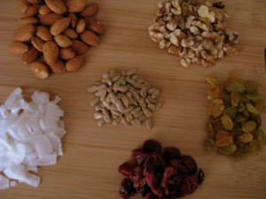 Almond,, Walnuts, Sunflower Seeds, Yellow Raisins, Dried Cranberries, Coconut Flakes