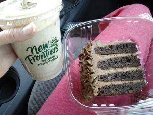 A trip to New Frontiers...Vegan Chocolate Peanut Butter Shake and GF DF chocolate cake...our sweet trip for the drive home
