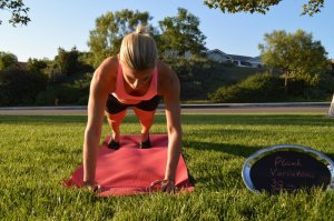 Step 1- start in a standard plank