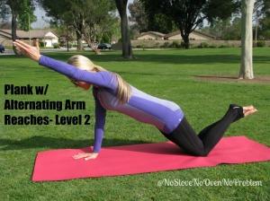 Plank w alt arm reaches L2.2