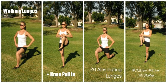Walking Lunges with Knee Pull In